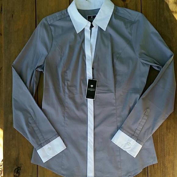 b135d8d20f3a Express Essential Shirt Gray  White Dress Shirt
