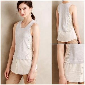 Anthropologie Laced Montage Tank by Moth