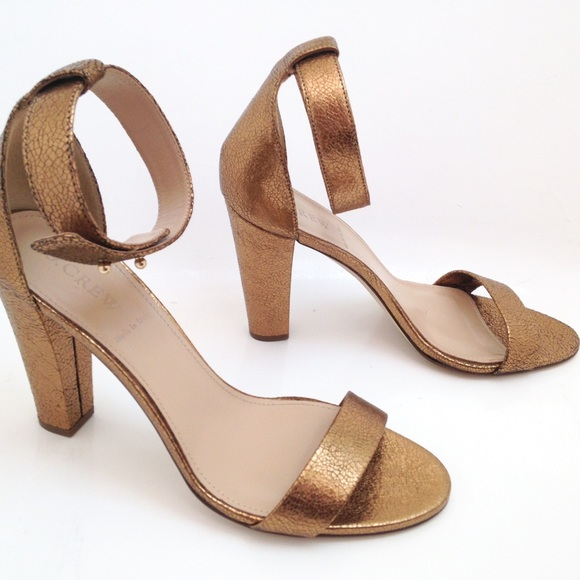 68% off J. Crew Shoes - New J Crew Lanie Heels Dark Gold wedding ...