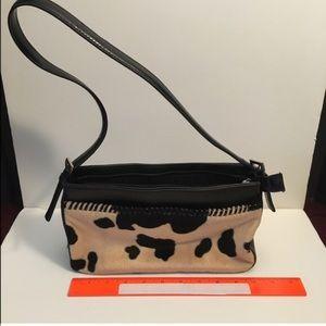 Faux camel/black cowhide western handbag