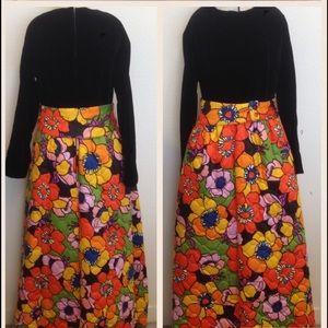 Vintage Floral Quilt/Velvet House Dress