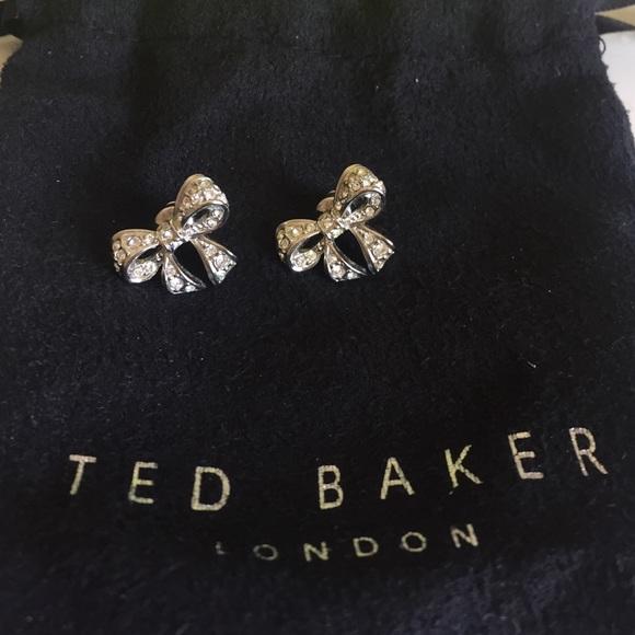 59d8504374ab Ted Baker crystal bow earrings. M 579fd299981829455d0051d8