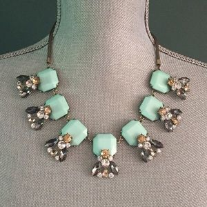 Light Green and Jewel Statement Collar Necklace