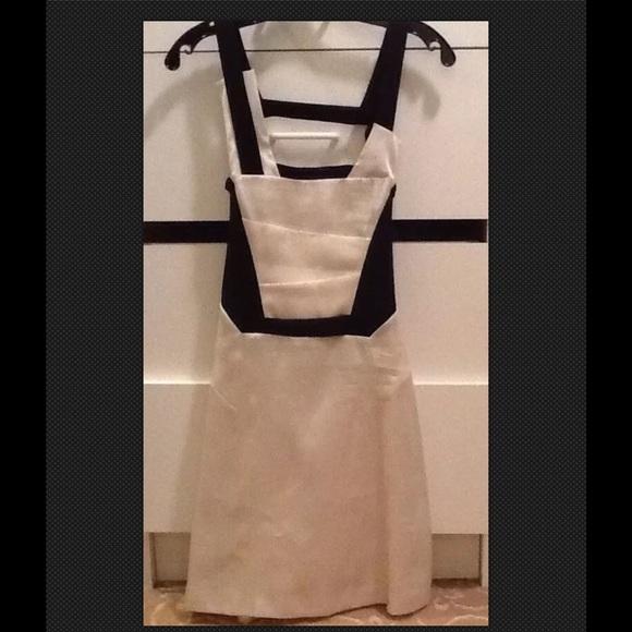 efd68d9e146cd HELMUT Lang Black White Satin Harness Dress Size 0