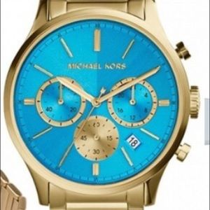 Michael Kors Accessories - MichaelKors Turquoise/Gold Runway Collection Watch