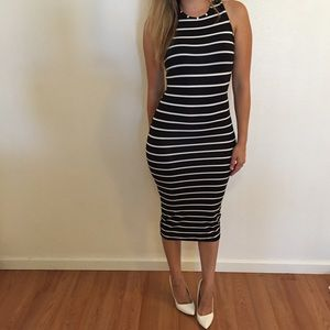 Dresses & Skirts - Black & White Striped Sleeveless Midi Dress