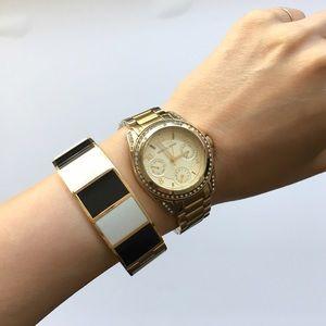 Jewelry - Kate Spade black & white enamel bracelet bangle