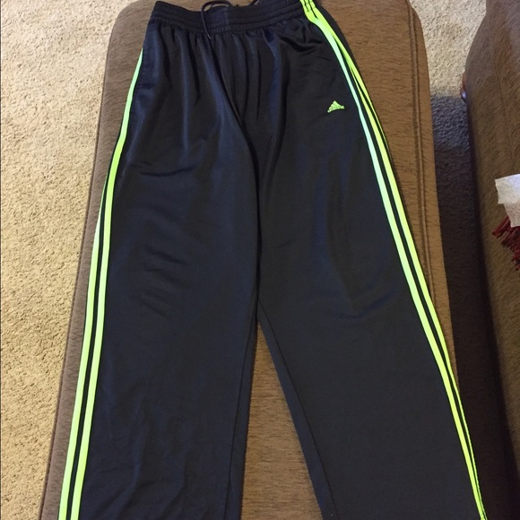 72% off adidas Other - Men's black Adidas athletic pants green ...