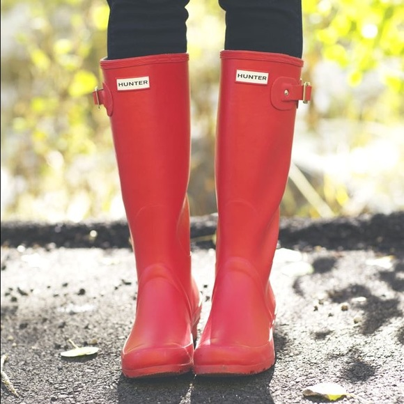 21 Off Hunter Shoes Matte Red Hunter Rain Boots From Kenzie S Closet On Poshmark