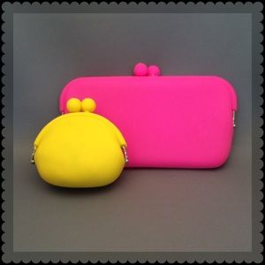  Boutique Hot Pink Pouch and Yellow Coin Purse