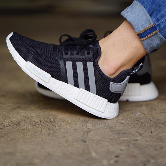 28db9c9e49e44 Adidas NMD R1 Black Mesh Sneakers (Women s 6.5)