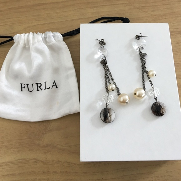 Furla Earrings for Women On Sale, Black, Fur, 2017, One Size