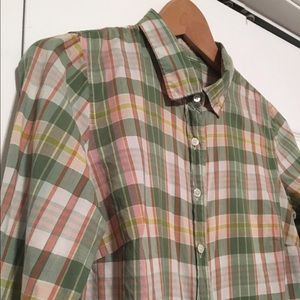 "J. Crew ""The Perfect Shirt"" Green/Pink Plaid"