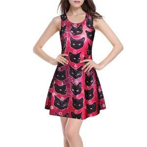 Pink Witch Black Cat Goth Evil Mini Dress S/M