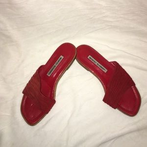 Manolo Blahnik adorable red suede flats size 35