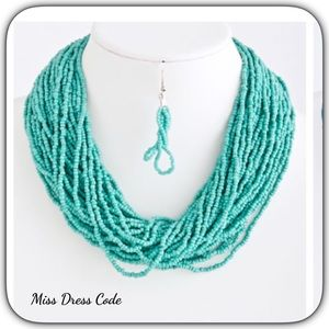 Jewelry - Teal Stacked Beaded Necklace with Earrings