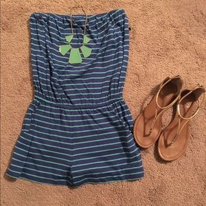 Strapless, stripe romper with pockets