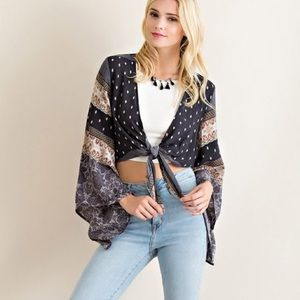 Bare Anthology Tops - Cropped Tie Front Bell Sleeve Cardigan
