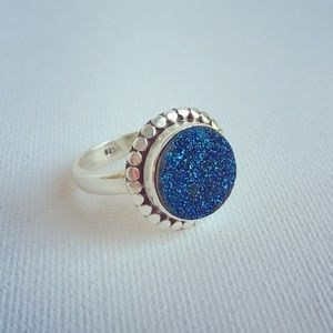 SALE Bright Blue Round Druzy Sterling Silver Ring