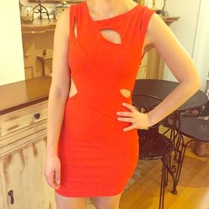 bebe Dresses & Skirts - Bebe- Bright Red Cutout Mini-Dress