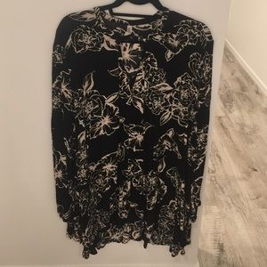 Free people black floral swing tunic