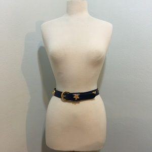 Vintage navy blue gold seashell belt Sz M