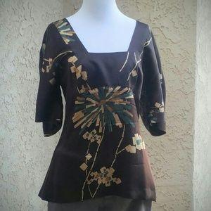 Trina Turk Tops - TRINA TURK Geometric Silk Shirt in Espresso S/M