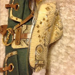 GUESS Bags - NWT GUESS Denim SET with Bronze   Snakeskin Trim 001f9220812e1
