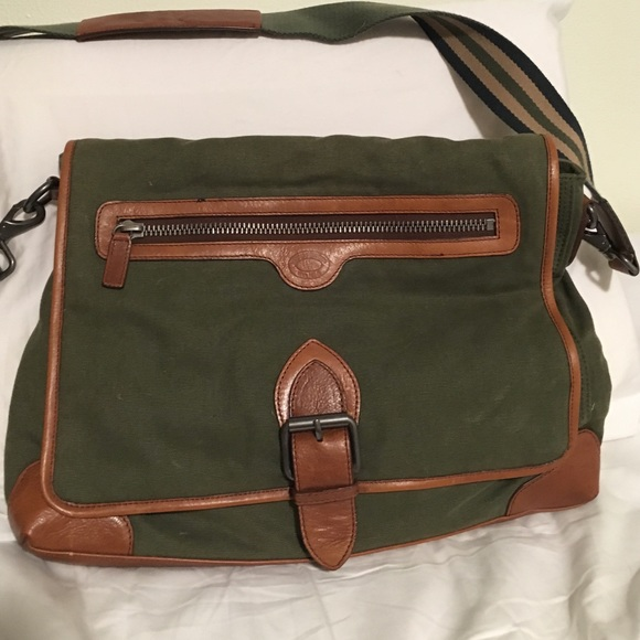 9b1865b5623 Brooks Brothers Other - Brooks Brothers Green Canvas Leather Messenger Bag