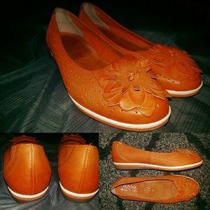Ara Shoes - Orange Leather Flat