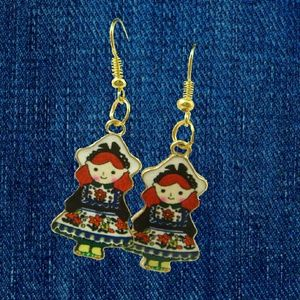 Jewelry - Highly Enameled Rag Doll Earrings