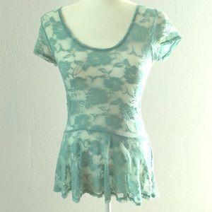 love on a hanger Tops - Aqua Lace blouse 🐚