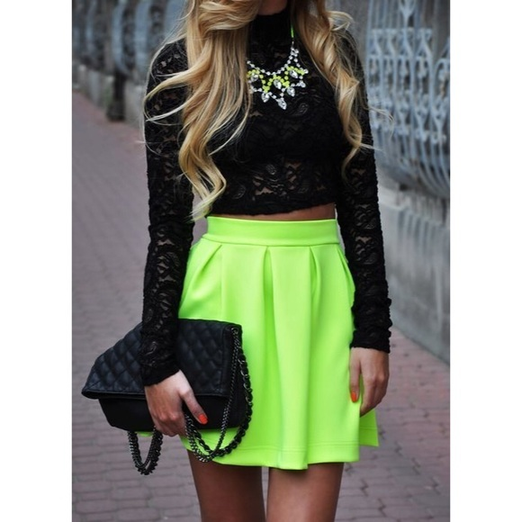 48 honey punch dresses skirts neon high waisted