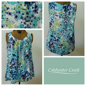 COLDWATER CREEK floral watercolor blouse S