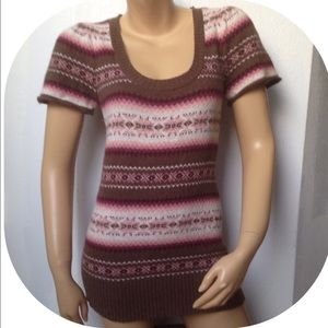 Aphorism Sweaters - Aphorism Size Large Short Sleeve Fair isle Sweater