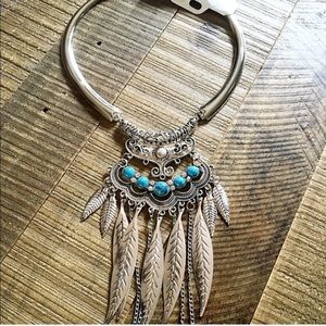 Jewelry - Brand new silver turquoise bohemian  necklace
