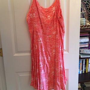 Tropical Print Coral Dress