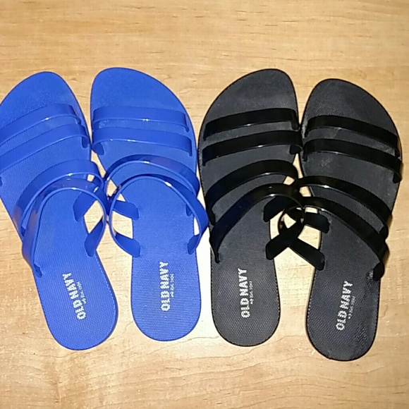 Old Navy Shoes Jelly Sandals Flats Womens 9 Blue Black