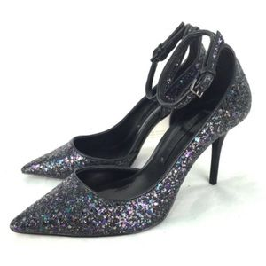 ZARA Glitter Heels with Ankle Strap