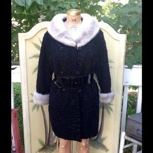 GORGEOUS VTG 50s PERSIAN LAMB & MINK COAT