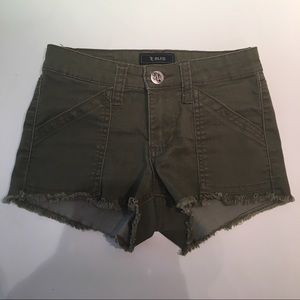STS Jeans Olive Green Frayed Shorts