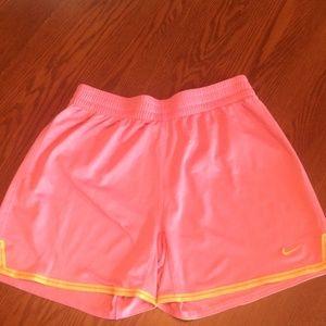 Nike- pink/yellow sport shorts-S- dri fit
