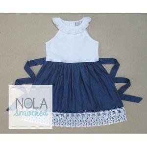 "NOLA Smocked Other - ""Denim & Lace"" dress"