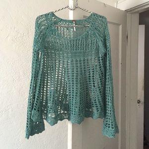 Free People crochet boho sweater top Annabelle S