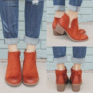 Whisky round toe ankle cut out booties