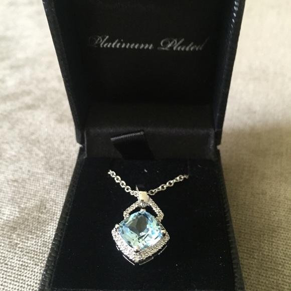 Gold Coast Jewelry Sale Platinum Plated Blue Quartz Necklace
