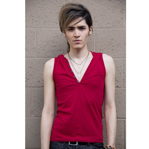 boutique Other - 🆕New Red Sleeveless Hooded Tank Top Button Front