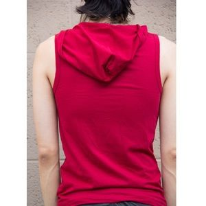 boutique Shirts - 🆕New Red Sleeveless Hooded Tank Top Button Front