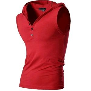 🆕New Red Sleeveless Hooded Tank Top Button Front