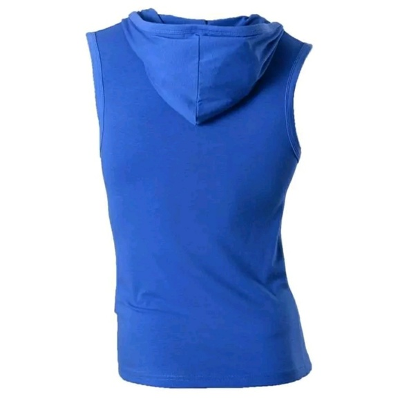 Boutique Shirts - Blue Henley Polo Tank Shirt Stretchy Fitness NEW S